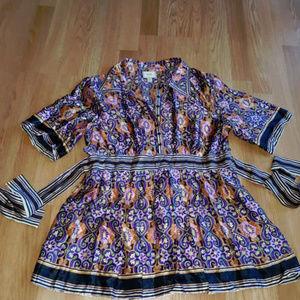 ECI Silk Summer Multicolor WTW Blouse Shirt Top 14